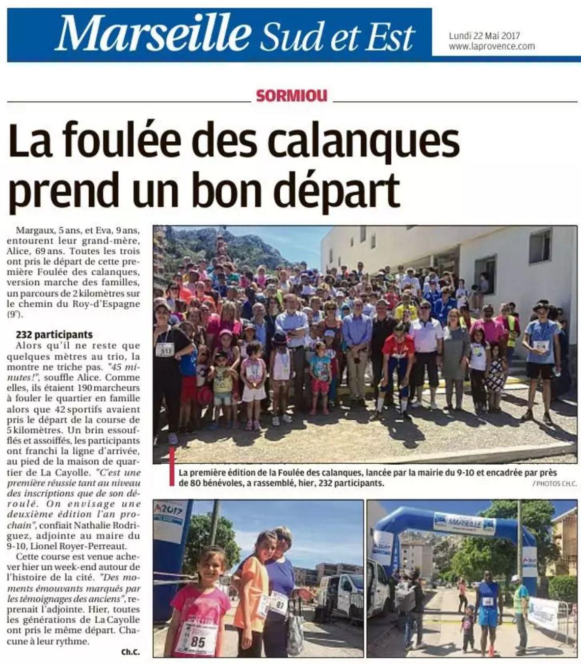 Article LaProvence 22-05-2017 La foulée des calanques p 11