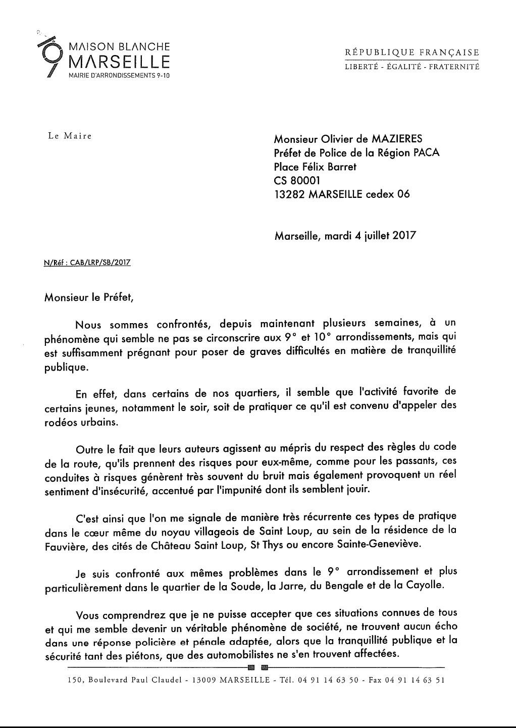 Rodéos urbains lettre préfet 1