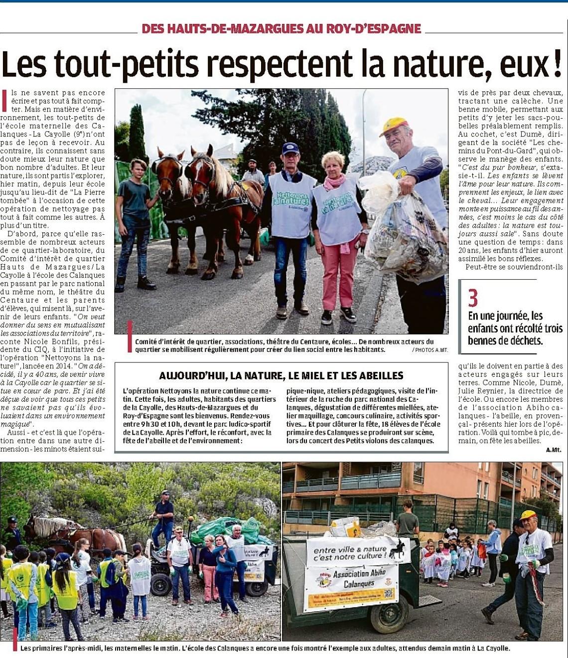 Article LaProvence 22-09-2017 1 Hauts de Mazargues Roy d'Espagne La Cayolle Nettoyons la nature p 15