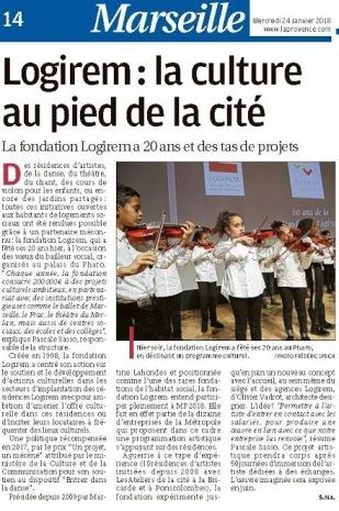 Article LaProvence-2018-01-24 Logirem Petits violons p14