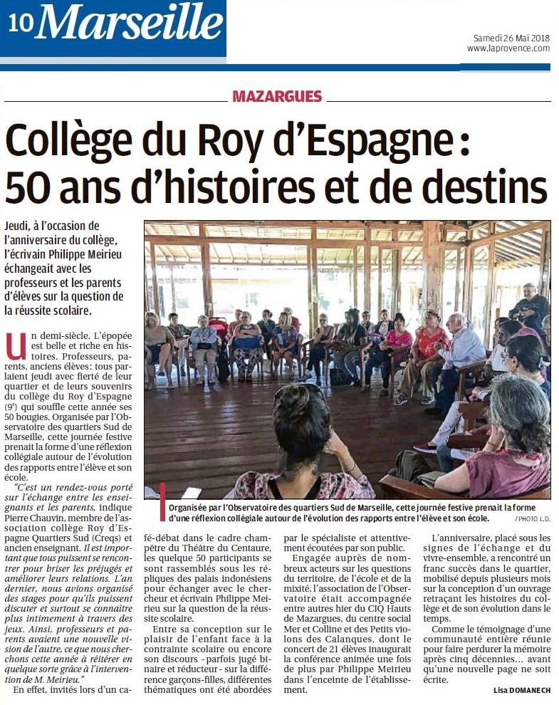 Article Parution LaProvence 26-05-2018 50 ans Collège du Roy d'Espagne p 10