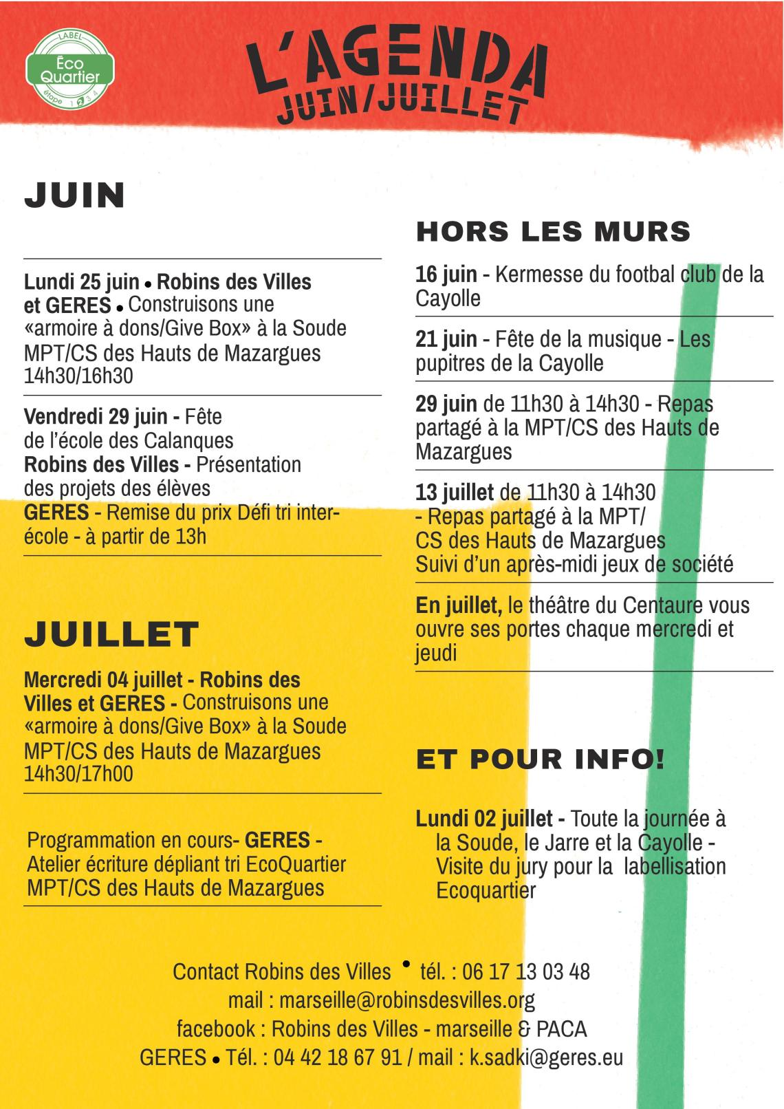 Agenda Juin Juillet Robins GERES