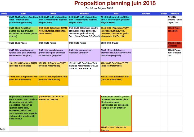 Planning Juin 2018 Les Pupitres de La Cayolle