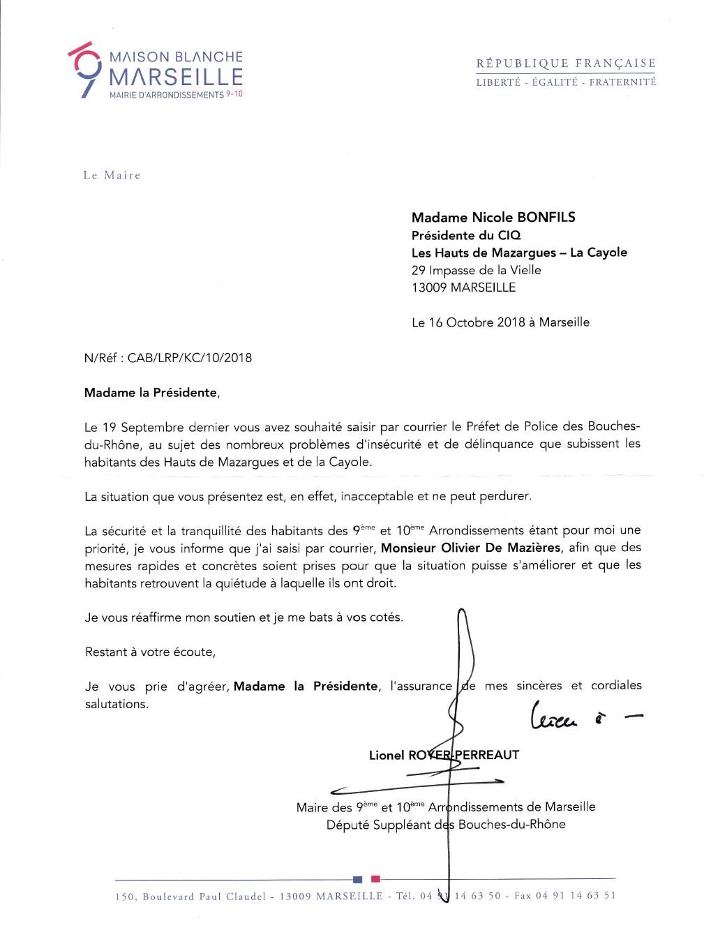Courrier LRP 16.10.18 Préfet de police